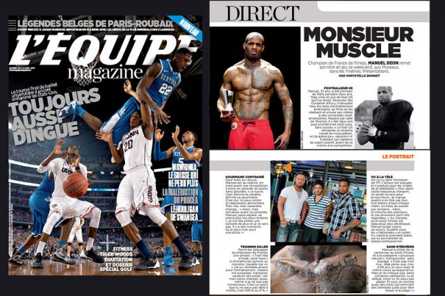 "Publication magazine "" L'équipe Magazine "" du 12 avril 2014  portrait sur Manuel DEON Champion de france de Fitness 2013- 2014 IFBB"